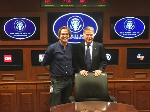 Trey Alsup, the designer of the Situation Room experience, with David Ferriero, the Archivist of the United States